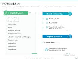 IPO Roadshow Pitchbook For Initial Public Offering Deal Ppt Inspiration Information