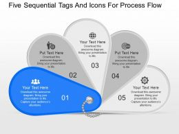 iq Five Sequential Tags And Icons For Process Flow Powerpoint Template