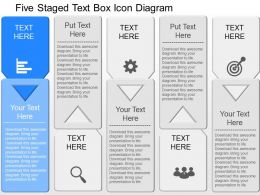 iq Five Staged Text Box Icon Diagram Powerpoint Template