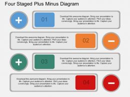 iq Four Staged Plus Minus Diagram Flat Powerpoint Design