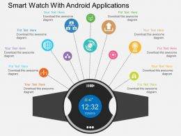 Iq Smart Watch With Android Applications Flat Powerpoint Design