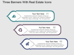 Iq Three Banners With Real Estate Icons Flat Powerpoint Design