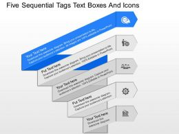 ir Five Sequential Tags Text Boxes And Icons Powerpoint Template