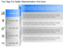 ir Five Tags For Option Representation And Icons Powerpoint Template