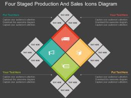 ir Four Staged Production And Sales Icons Diagram Flat Powerpoint Design