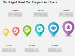 ir Six Staged Road Map Diagram And Icons Flat Powerpoint Design