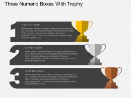 Ir Three Numeric Boxes With Trophy Flat Powerpoint Design