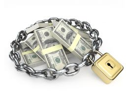 Iron Chain And Lock Surrounding Dollars Graphic Stock Photo
