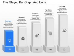 is Five Staged Bar Graph And Icons Powerpoint Template