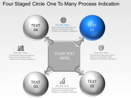 Is Four Staged Circle One To Many Process Indication Powerpoint Template