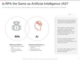 Is RPA The Same As Artificial Intelligence AI Ppt Powerpoint Presentation Professional File Formats