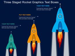 Is Three Staged Rocket Graphics Text Boxes Flat Powerpoint Design