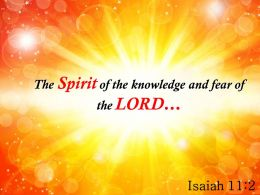 Isaiah 11 2 The Spirit Of The Knowledge Powerpoint Church Sermon