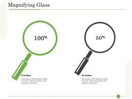 Ishikawa Analysis Organizational Magnifying Glass 50 To 100 Perecntages Ppt Clipart