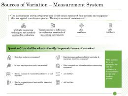 Ishikawa Analysis Organizational Sources Of Variation Measurement System Test Equipment Ppts Tips