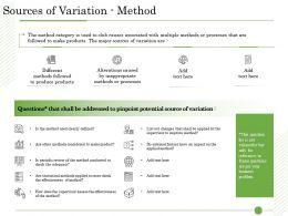 Ishikawa Analysis Organizational Sources Of Variation Method Alterations Ppt Infographics
