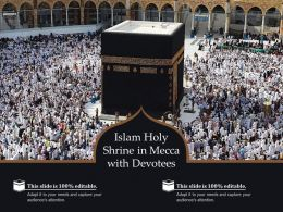 Islam Holy Shrine In Mecca With Devotees