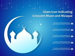 Islam Icon Indicating Crescent Moon And Mosque