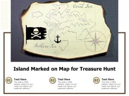 Island Marked On Map For Treasure Hunt