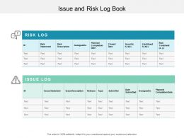 Issue And Risk Log Book