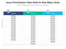 Issue Prioritization Table Slide For Row Major Order Infographic Template