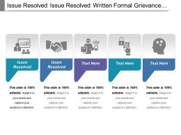 Issue Resolved Issue Resolved Written Formal Grievance Received