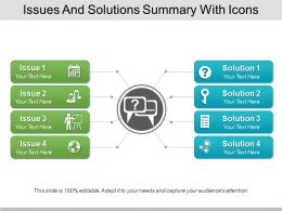 Issues And Solutions Summary With Icons