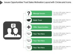 Issues Opportunities Trust Sales Motivation Layout With Circles And Icons