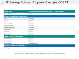 It Backup Solution Proposal Example Of Ppt