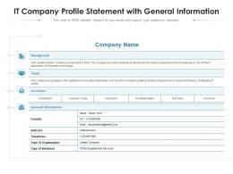 It Company Profile Statement With General Information
