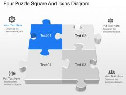 it Four Puzzle Square And Icons Diagram Powerpoint Template