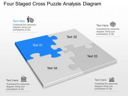 It Four Staged Cross Puzzle Analysis Diagram Powerpoint Template