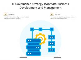 It Governance Strategy Icon With Business Development And Management