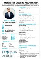 IT Professional Graduate Resume Report Presentation Report Infographic PPT PDF Document