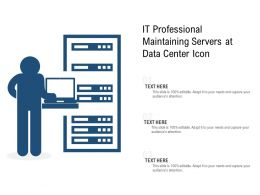 IT Professional Maintaining Servers At Data Center Icon
