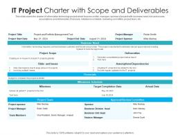 IT Project Charter With Scope And Deliverables