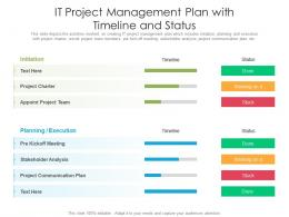IT Project Management Plan With Timeline And Status