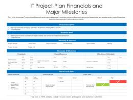 IT Project Plan Financials And Major Milestones