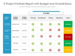 IT Project Portfolio Report With Budget And Overall Status