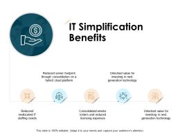 IT Simplification Benefits Dollar Audiences Attention Ppt Powerpoint Presentation Ideas Picture