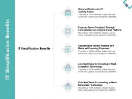 It Simplification Benefits Generation Technology Ppt Powerpoint Presentation File Vector