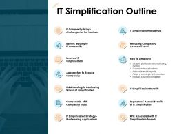 IT Simplification Outline Roadmap Business Ppt Powerpoint Presentation Ideas Samples