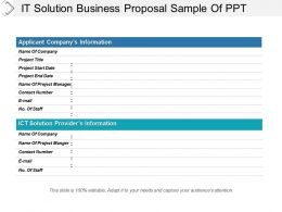 It Solution Business Proposal Sample Of Ppt