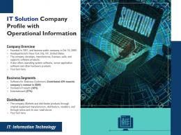 IT Solution Company Profile With Operational Information