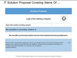 It Solution Proposal Covering Name Of Company And Specialization