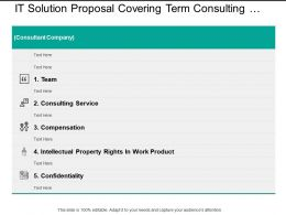 It Solution Proposal Covering Term Consulting Services Compensation And Confidentiality