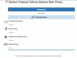 It Solution Proposal Defines Abstract Main Points And Methodology