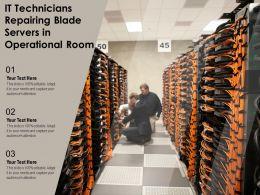 IT Technicians Repairing Blade Servers In Operational Room