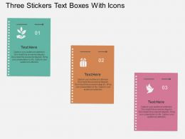 It Three Stickers Text Boxes With Icons Flat Powerpoint Design