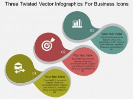 It Three Twisted Vector Infographics For Business Icons Flat Powerpoint Design